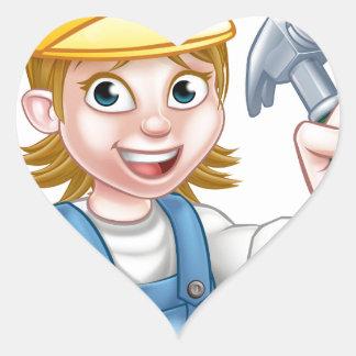Woman Carpenter Holding Hammer Heart Sticker