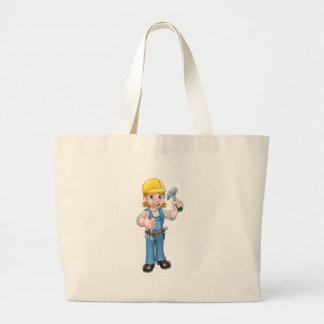 Woman Carpenter Holding Hammer Large Tote Bag