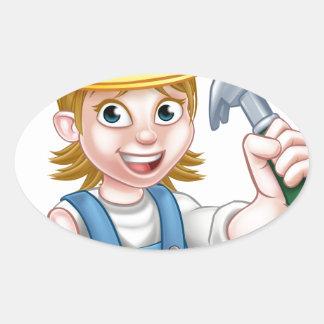 Woman Carpenter Holding Hammer Oval Sticker