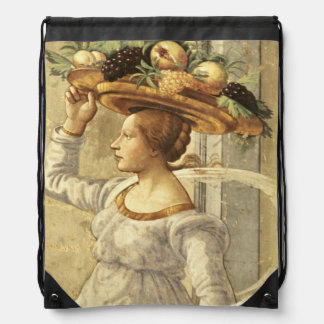 Woman carrying Fruit, from the Birth of St. John t Drawstring Bag