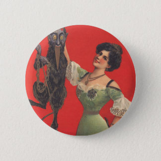 Woman Catching Krampus 6 Cm Round Badge
