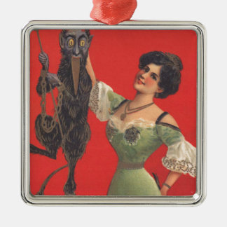 Woman Catching Krampus Silver-Colored Square Decoration