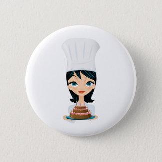 Woman chef Birthday cake 6 Cm Round Badge