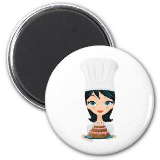 Woman chef Birthday cake 6 Cm Round Magnet
