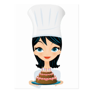 Woman chef Birthday cake Post Cards