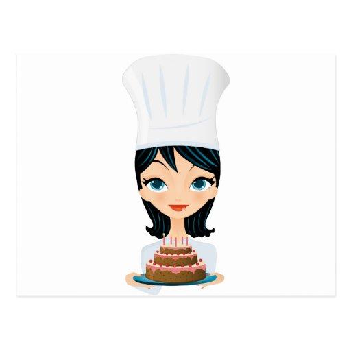 Woman chef Birthday cake Postcard