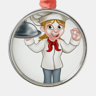 Woman Chef Cartoon Character Mascot Silver-Colored Round Decoration