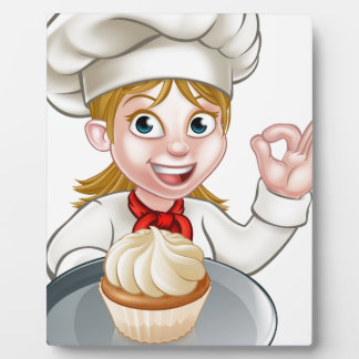 Woman Chef or Baker Cartoon Plaques