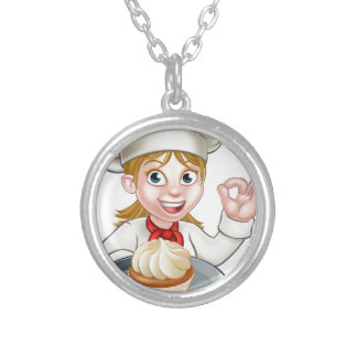 Woman Chef or Baker Cartoon Silver Plated Necklace