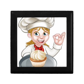 Woman Chef or Baker Cartoon Small Square Gift Box
