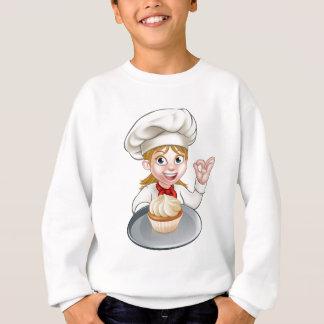 Woman Chef or Baker Cartoon Sweatshirt