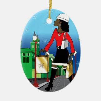 Woman Christmas shopping with bags dressed fashion Christmas Ornament