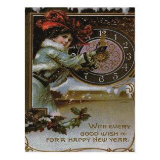 Woman Clock Midnight Holly Snow Postcard