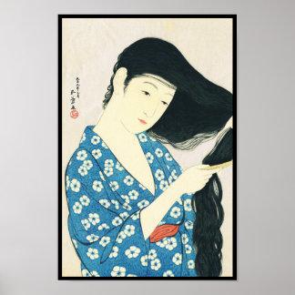 Woman Combing Her Hair Hashiguchi Goyo Poster