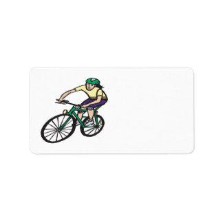 Woman Cycling Address Label