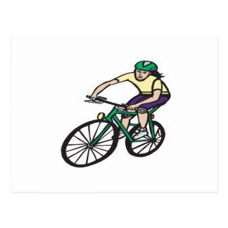 Woman Cycling Postcard