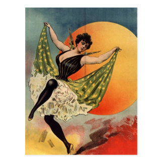 Woman dance hall At cabaret Postcard