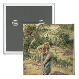 Woman Digging in an Orchard, 1882 15 Cm Square Badge