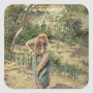 Woman Digging in an Orchard, 1882 Square Sticker