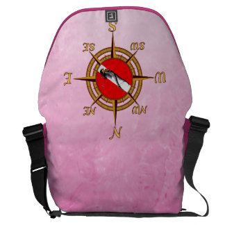 Woman Diver And Compass Courier Bags