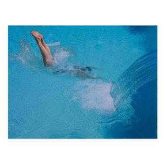 woman diving postcard