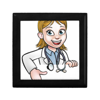 Woman Doctor Cartoon Character Pointing Gift Box