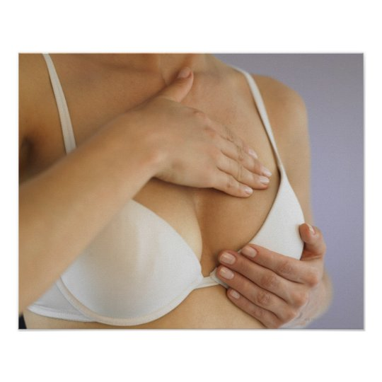 Woman doing breast self exam poster