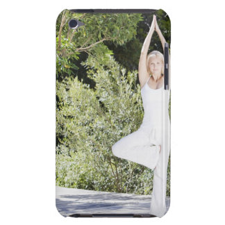 Woman doing yoga on patio barely there iPod case