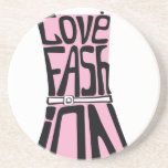 """Woman dress from words  """"I love fashion"""" Beverage Coasters"""