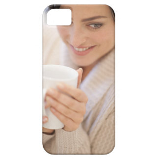 Woman drinking a hot drink. barely there iPhone 5 case
