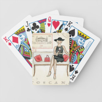 Woman Drinking Red Wine Bicycle Playing Cards