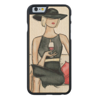 Woman Drinking Red Wine Carved Maple iPhone 6 Case