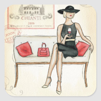 Woman Drinking Red Wine Square Stickers