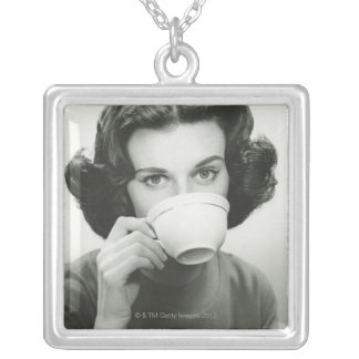 Woman Drinking Silver Plated Necklace