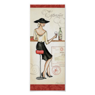Woman Drinking Spanish Wine Poster