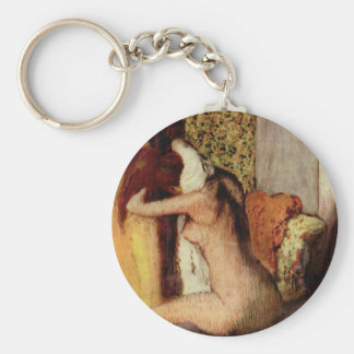 Woman Drying Her Neck Basic Round Button Key Ring