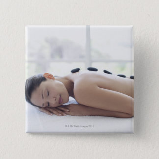 Woman enjoying lastone therapy 15 cm square badge