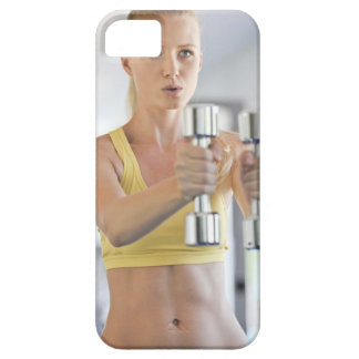Woman exercising with weights iPhone 5 cover