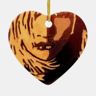 Woman face ceramic heart decoration