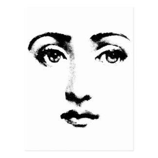 Woman face postcard