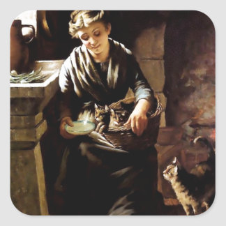 Woman feeding cats antique painting sticker