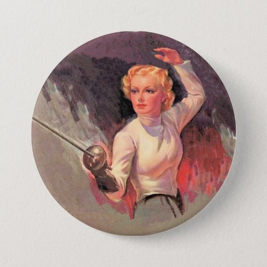 Woman fencer 7.5 cm round badge