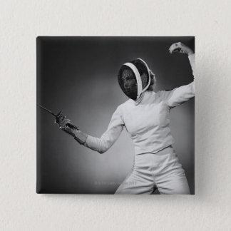 Woman Fencing 15 Cm Square Badge