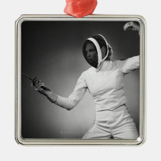 Woman Fencing Christmas Ornament