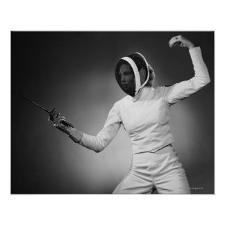 Woman Fencing Poster