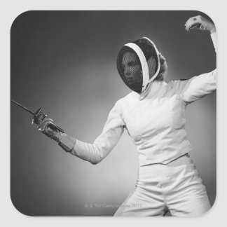 Woman Fencing Square Sticker