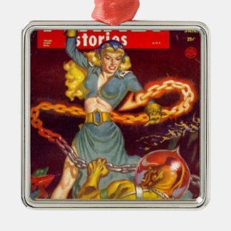 Woman Fighting Monster Christmas Ornament
