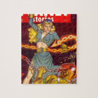 Woman Fighting Monster Jigsaw Puzzle