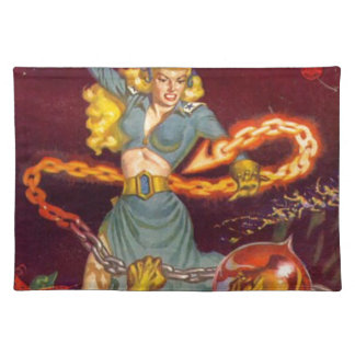 Woman Fighting Monster Place Mat