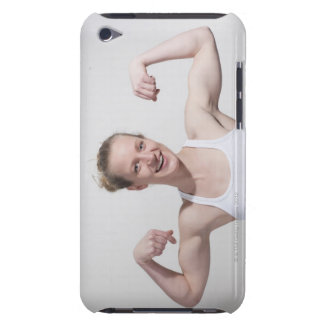 Woman flexing muscles iPod touch covers